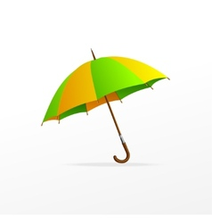 Green and yellow umbrella isolated vector