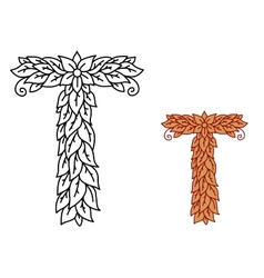 Uppercase letter t in a foliate font vector