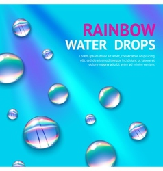 Water drops with rainbow vector