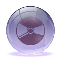 3d glass sphere and music cd icon vector