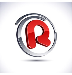 3d r letter icon vector