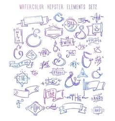 Catchwords ribbons ampersands design elements vector image