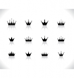 Set of black crowns vector