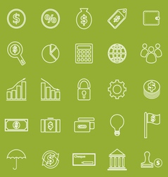 Finance line icons on green background vector