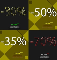 50 35 70 icon set of percent discount on abstract vector