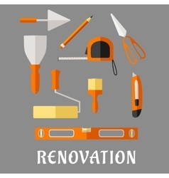 Construction and renovation tools flat icons vector