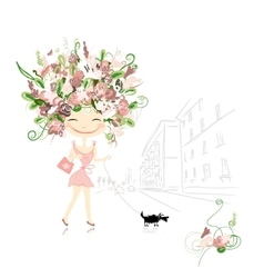 Floral girl with dog on street sketch for your vector