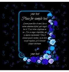 Frame with text and buds of blue roses vector