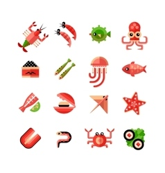 Seafood isolated icon set vector