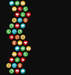 Flat art social app icons as background design vector image