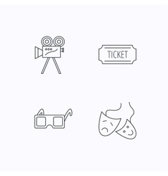 Ticket video camera and theater masks icons vector