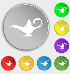 Alladin lamp genie icon sign Symbol on eight flat vector image