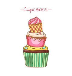 Beautiful pyramid of cupcakes vector