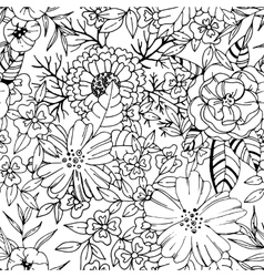 Black and white flower seamless pattern vector image vector image