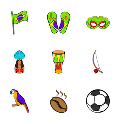 Brazil statue icons set cartoon style vector