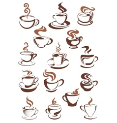 Brown cups of coffee cappuccino espresso latte or vector image