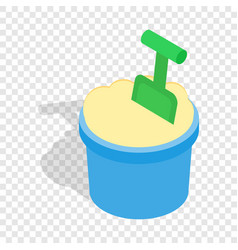 bucket of sand and shovel isometric icon vector image