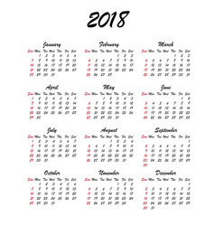 Calendar 2018 year week starts sunday us vector
