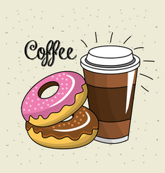 Delicious donut with plastic coffee cup vector