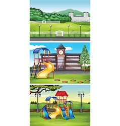 Different scenes with lawn vector image vector image