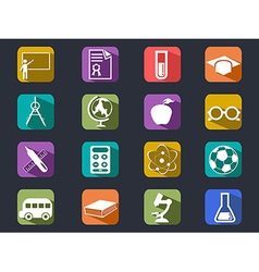 Flat education long shadow icons vector