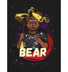 Furious russian bear with vodka and balalaika vector image