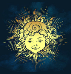 gold sun with face of cute curly smiling baby boy vector image