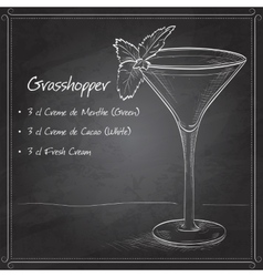 Grasshopper alcoholic cocktail on black board vector
