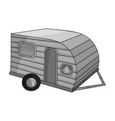 Green caravan icon in monochrome style isolated on vector