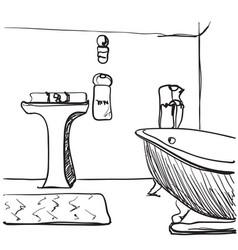 hand drawn bathroom sketch vector image