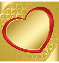 heart on the golden pattern - eps vector image vector image