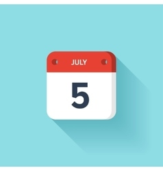 July 5 Isometric Calendar Icon With Shadow vector image
