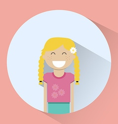 Little blonde girl smiling round icon vector