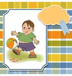 Little boy playing ball vector