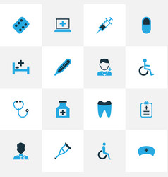 Medicine colorful icons set with disabled form vector