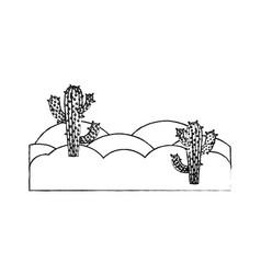 Monochrome blurred silhouette of landscape of vector