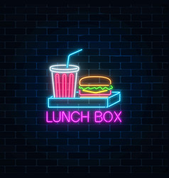 Neon food and drink lunch box glowing signboard vector