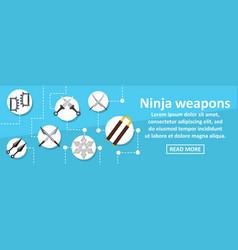 Ninja weapons banner horizontal concept vector