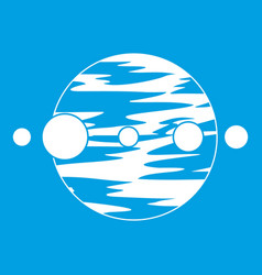 Planet and moons icon white vector