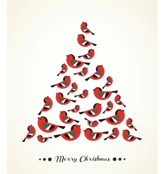 Retro Christmas Card - Birds on Christmas Tree vector image
