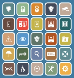 Security flat icons on blue background vector