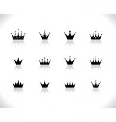 Set of black crowns vector