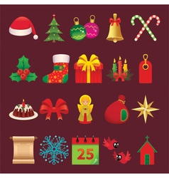 Set of icons and symbols of Christmas accessories vector image vector image