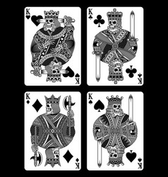set of skull playing cards vector image