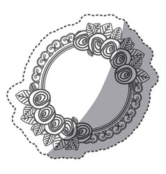 Silhouette round emblem with roses icon vector