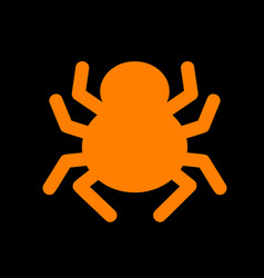 Spider sign orange icon on black vector