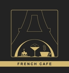 Traditional french kitchen mono line logo vector