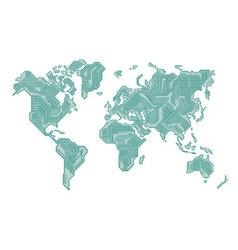World Map Circuit Board Design vector image
