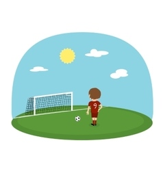 Cartoon boy practice kicking on training football vector