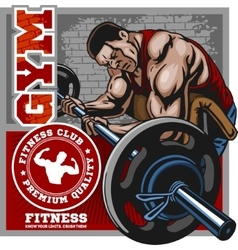 Sport club bodybuilding logos emblems design vector